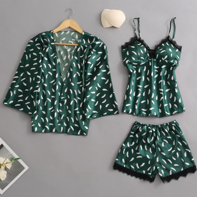 New Sleep Lounge Women Sleepwear Pajamas Sexy Chest Pad Nightwear Pyjama Femme Lace Homewear Indoor Clothes 3 Piece Pijamas Set