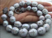 Beautiful 19 15mm Grey Pearl CZ Clasp Necklace