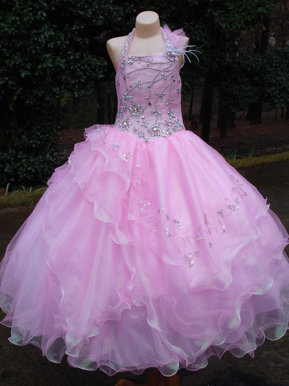 2013 Unique Fashion Pink Layered Skirt Sugar Pageant Dress -4625