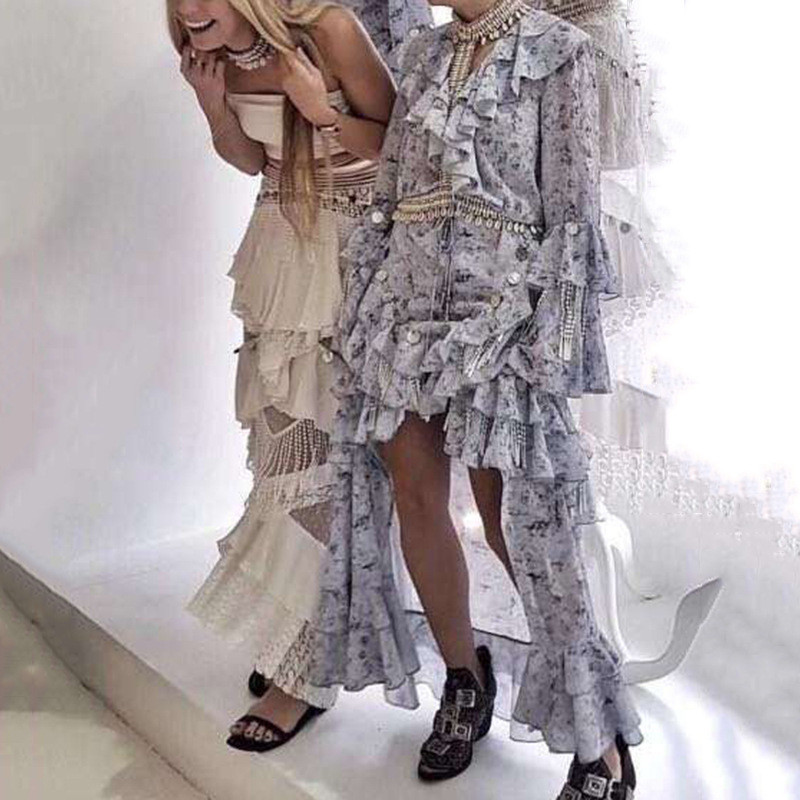 High Fashion Fairy Mosaic Long Dress Spring V-neck Sequined Ruffle Dress Casual Flower Floral Chiffon Maxi Dress (1)