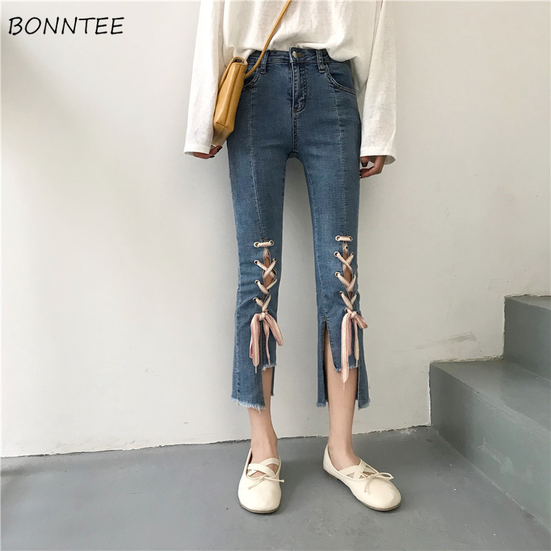 Jeans Women Simple All-match Elegant Korean Style High Quality Female Slim Trendy Summer Womens Irregular Ankle-Length Trousers