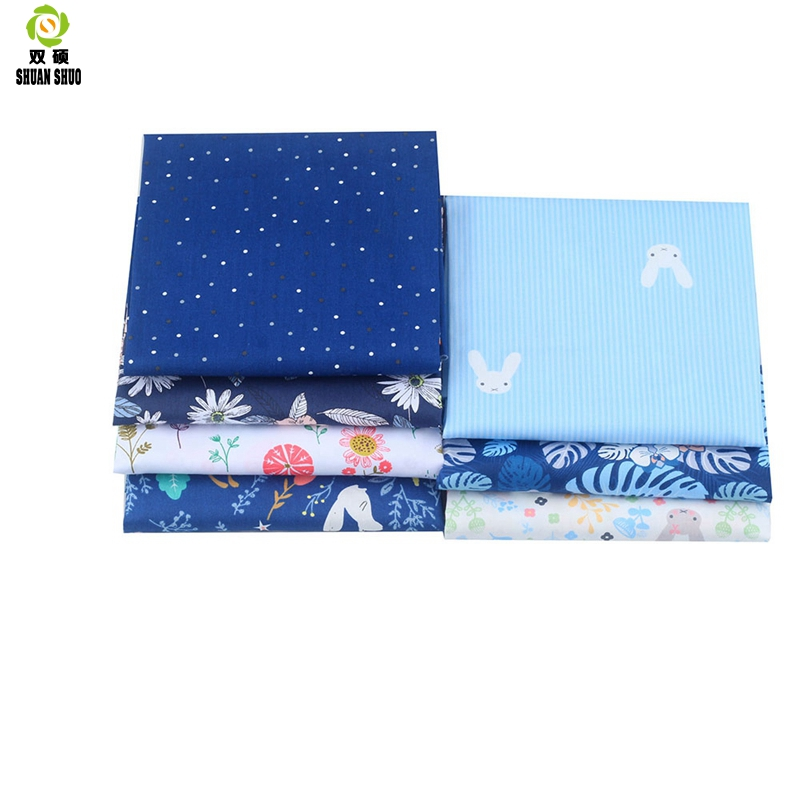 Shuangshuo Cotton Tissus Fabric Blue Flower Patchwork Fabric Fat Quarter Bundles Fabric For Sewing Doll Cloths 40 50cm 7pcs lot in Fabric from Home Garden