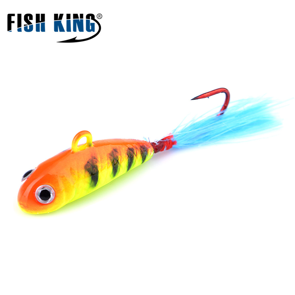FISH KING Winter Ice Fishing Baits 5g 7g with  4# 2# Hooks Florescent Feather Jig lure Ice Fishing Lure рыболовный поплавок night fishing king 1012100014 mr 002