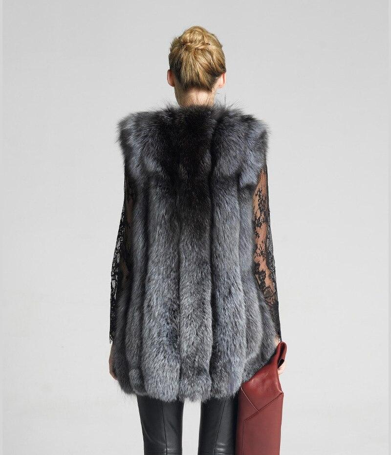 LIYAFUR Frauen 100% echte echte Full Pelt Silber Fuchspelz lange - Damenbekleidung - Foto 3
