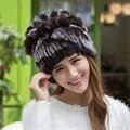 Gorros de invierno Sombrero de Piel Para Las Mujeres de Punto 100% Rex Conejo Del Sombrero de Piel Tapa de La Flor Tamaño Libre Ocasional del Sombrero de Las Mujeres