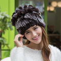 Winter Beanies Fur Hat For Women Knitted 100% Rex Rabbit Fur Hat Flower Top Free Size Casual Women's Hat