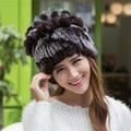 Winter Beanies Fur Hat For Women Knitted 100% Rex Rabbit Fur Hat Flower Top Free Size Casual Women's Hat