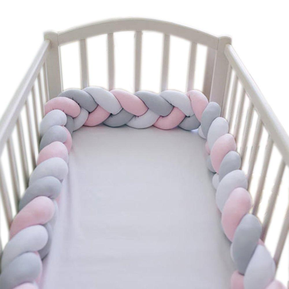 Длина 200 см, высота 12 см, одноцветная детская мягкая подушка, плетеная детская кроватка, бампер, подушка с узлом, подушка, колыбель, декор для маленьких девочек и мальчиков - Цвет: Pink gray white 2M