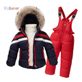 Children Boys/Girls Winter Clothing Set Overalls 100%White Duck Down Filling 2016 Snowsuit Jacket Coat + Jumpsuit Kids Ski Suit