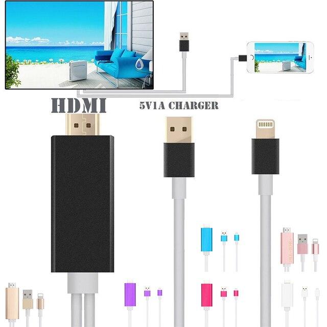 Cabo hdmi para iphone 5 5s 5c se 6 6 s 6 plus 6 splus mhl para Cabo HDMI TV AV HDTV Cabo Adaptador de Mídia 1080 P HDTV Adapter 6.5 pés