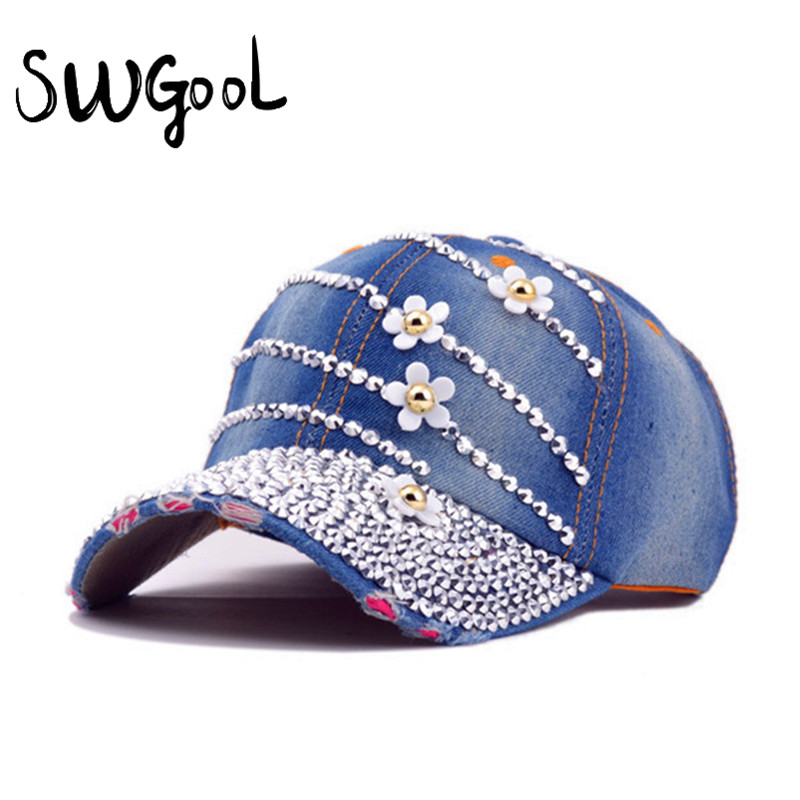 [SWGOOL] Baseball caps with flowers 2017 New style women Adjustable sun hat rhinestone denim hat and cotton snapback cap [swgool] skullies