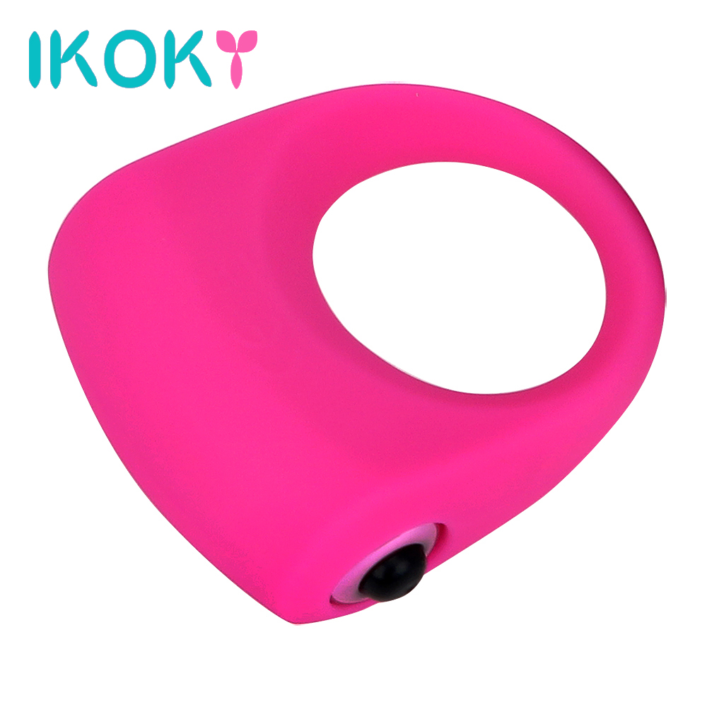 IKOKY Delay Ejaculation Cock Ring Silicone Penis Rings Vibrator Ring Adults Products Lasting Sex Toys for Men Male Shocking