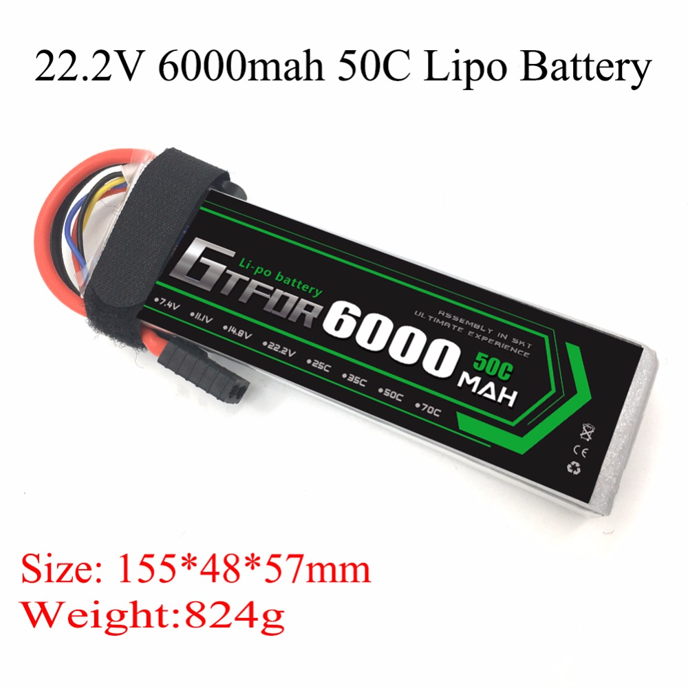 GTFDR <font><b>Lipo</b></font> <font><b>6s</b></font> Battery 22.2v <font><b>6000mah</b></font> 50C Max 100C Align RC Bateria Drone AKKU For Airplane Helicopter Quadcopter Car Boat Drone image