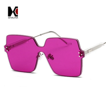 SHAUNA Newest Candy Color Trending Women Rimless Sunglasses 3 Layers Thick Lens Fashion Men Square Rose Red Yellow Shades UV400