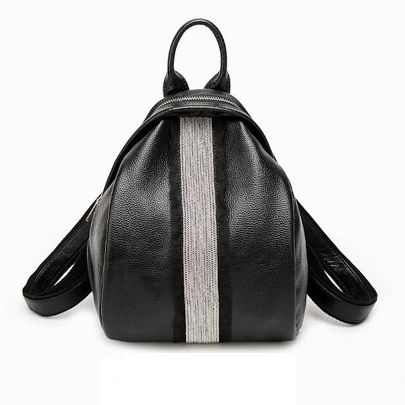 Fashion Newest Women PU Leather Zipper Backpack Ladies Shells Bags Student Girls School Bags Color Striped