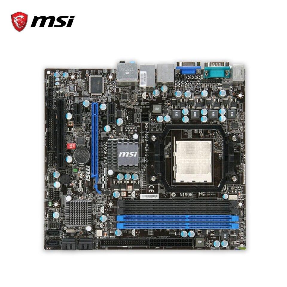 MSI 785GM-P45 Original Used Desktop Motherboard 785G Socket AM3 DDR3 16G STAT2 USB2.0 Micro ATX