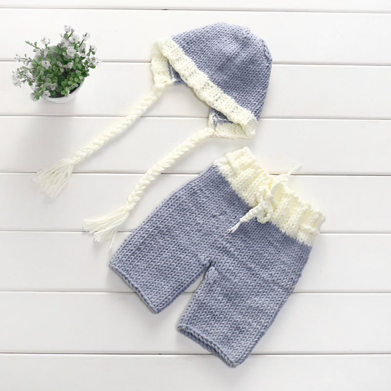 Newborn Photography Props Baby Girl Hat With Braid Pants Set Costume Clothes Studio Photo Props Toddle Ifant Clothing