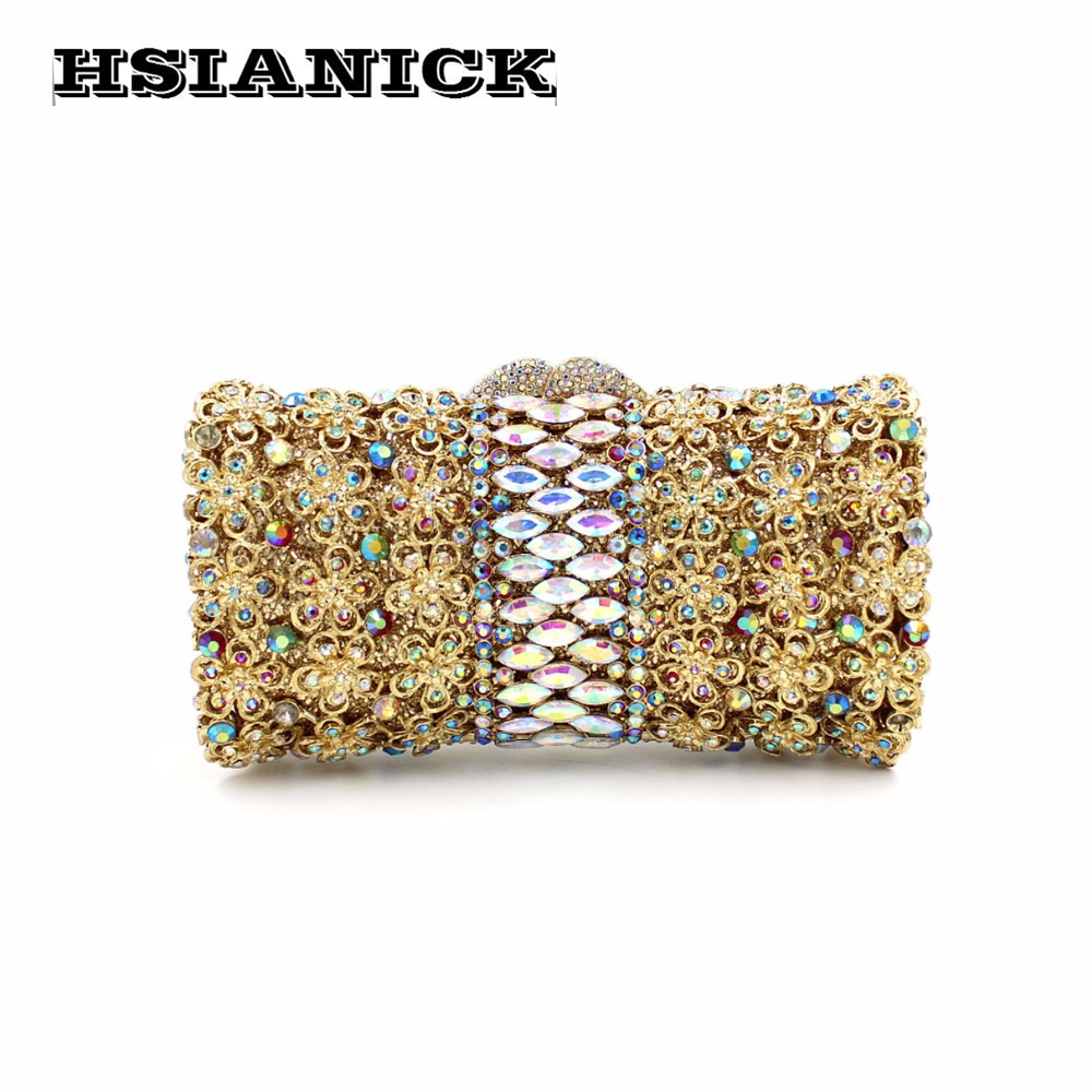 2017 Real Sale European And American Luxury Flower Diamond Evening Bag Clutch Crystal Ladies Hollow Wedding Prom Dinner Handbag europea and american high end luxury crystal diamond evening bag green full diamond evening clutch banquet party prom dinner bag