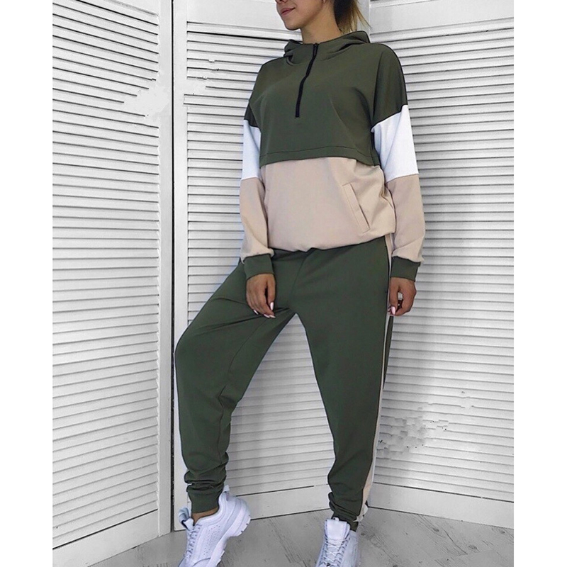 Ladies Tracksuit 2Pcs Hoodies Prime Sweatshirt+Facet Stripe Pants Ladies 2 Items Units Ladies Fits Feminine Streetwear Sj1287E