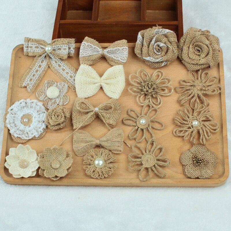 10pcs Handmade Natural Jute Burlap Hessian Bowknot Flower DIY Rustic Wedding Decoration Christmas New Year Decor
