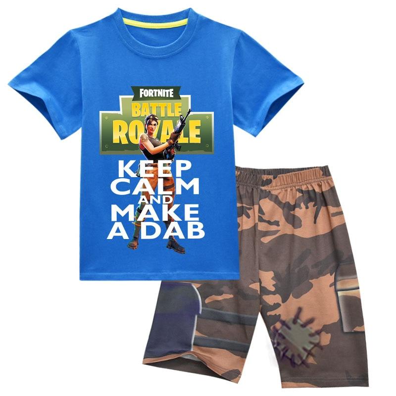 Летние детские для мальчиков-подростков одежда с героями мультфильмов комплекты Fortnite битва Футболка с принтом букв Костюмы комплект Детск...