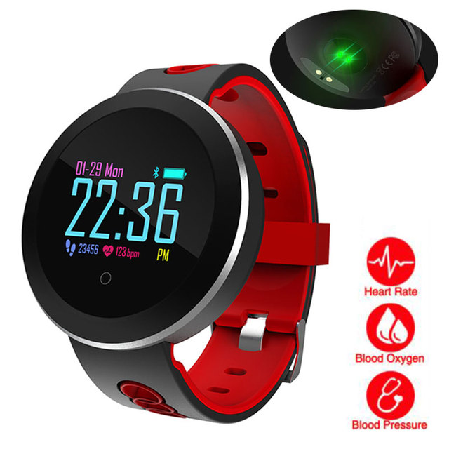 Heart Rate Monitor Smart Watch Sports Blood Pressure Pedometer Running OLED Touch Waterproof Fitness Intelligent Watch Men Women