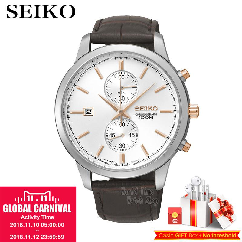 цена на SEIKO Watch Chronograph Watches Quartz Watches Business Casual Belt Watches SNN277J1