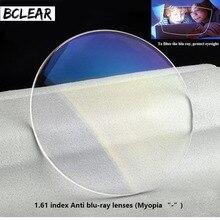 Bclear 1.61 índice de refração anti lentes de raios azuis lente de visão única miopia azul luz olhos proteção computador óculos telefone