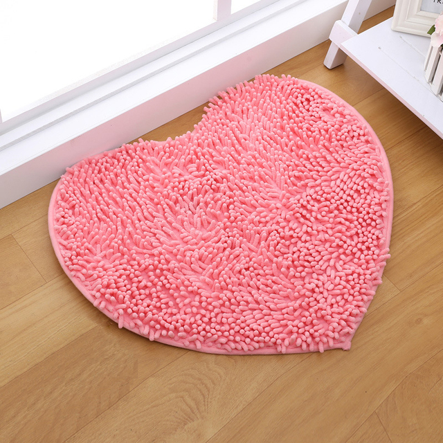 Zeegle Chenille Plush Carpet Mat For Living Room Love Heart Shape ...