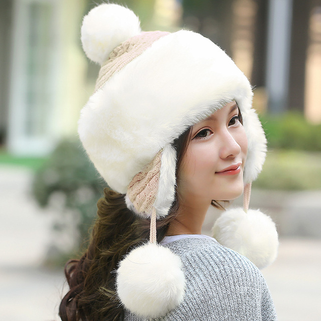 Women Faux Fur Bomber Cap Sweet Thermal Knitted Hat Top Fashion Ears Hats Female Thickening Imitatied Fox Fur Bomber Hat