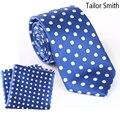 Tailor Smith Luxury Natural Pure Silk Tie Polka Dot Blue Necktie Hanky Set Mens Business Wedding Dress Suit Cravat Pocket Square