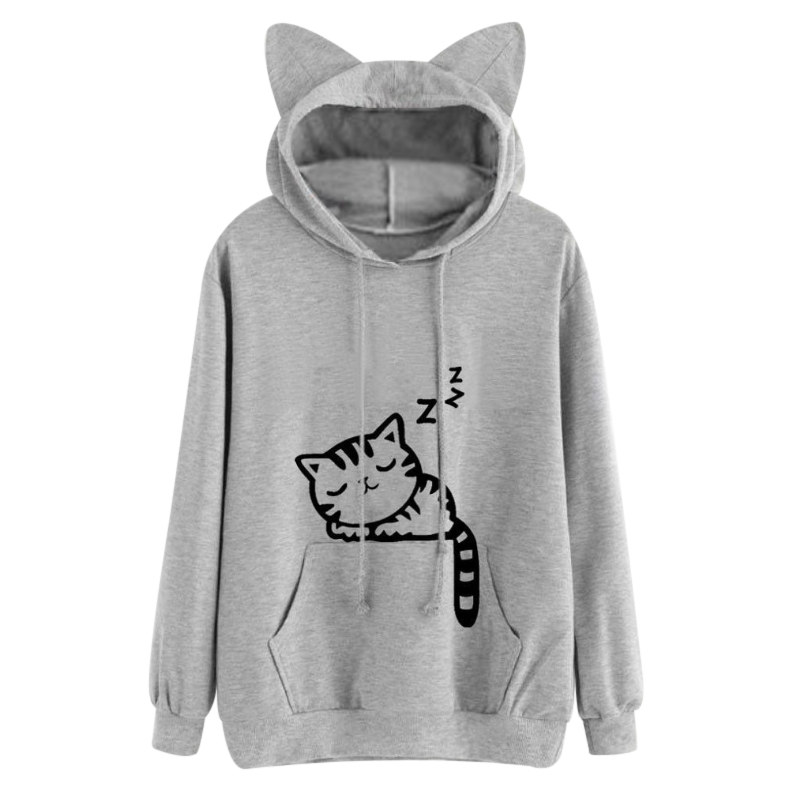 Harajuku Women Hoodies Sweatshirt Kawaii Pink Winter Cat Pattern Long Sleeve Moletom Hooded Sweatshirts Ear Hooed Mujer 2017 #4