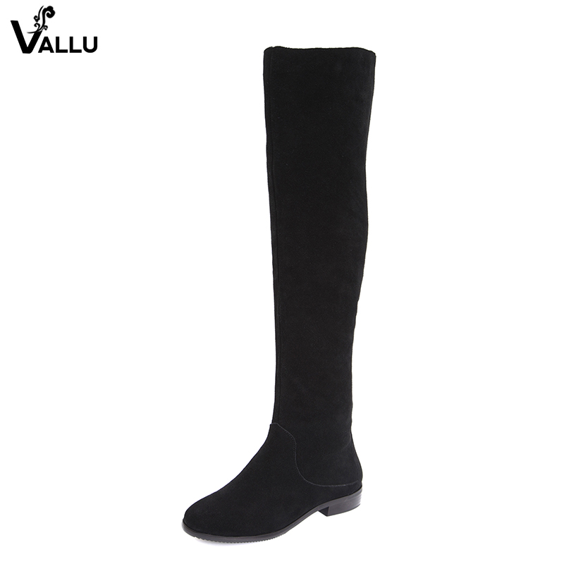 Black Thigh High Stylish Booties Shoes Woman Cow Nubuck Leather Low Heel Lady Shoes Soft Casual 2018 Female New Long Boots