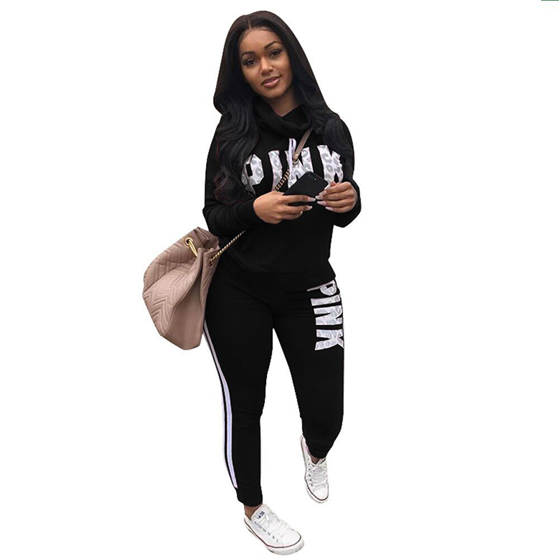 Women Word Letter Print Sweatshirt Long Pant 2 Piece Outfits Cowl Fashion Neck Pink Letter Tracksuits Autumn Clothing Set Black