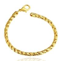 Rock Style Chain Bracele Bracelet 18K Stamp Real Gold Plated Bracelet Wholesale New Fashion Bracelets Bangles