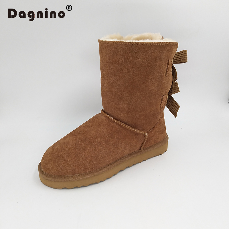 DAGNINO HOT Lady Brand Australia Ug Style Two Bowknots Short Botas High Quality Women Winter Warm Genuine Leather Bow Snow Boots