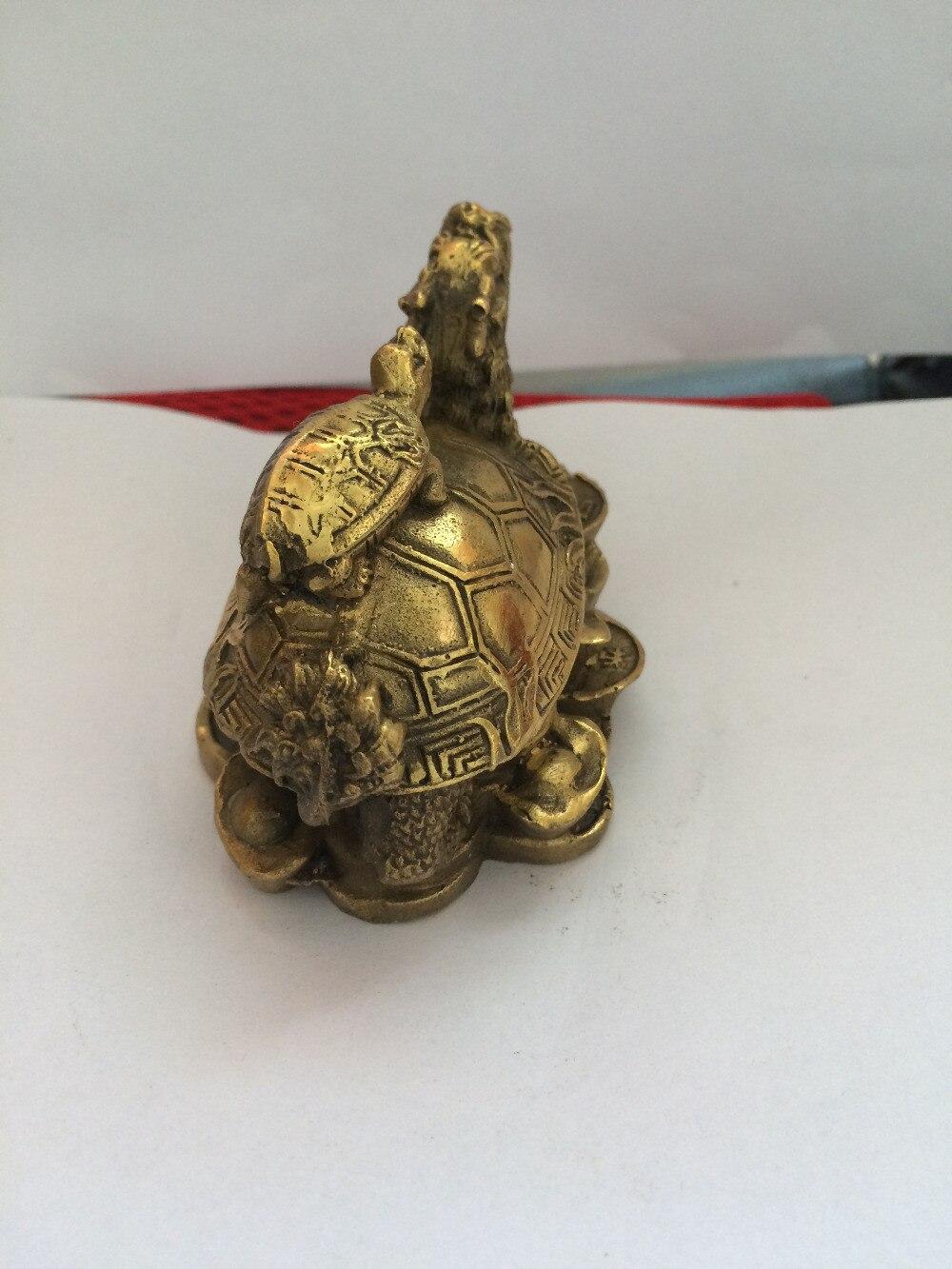 TNUKK chinois laiton richesse argent pièce lingot dragon tortue tortue longévité statue décoration - 4