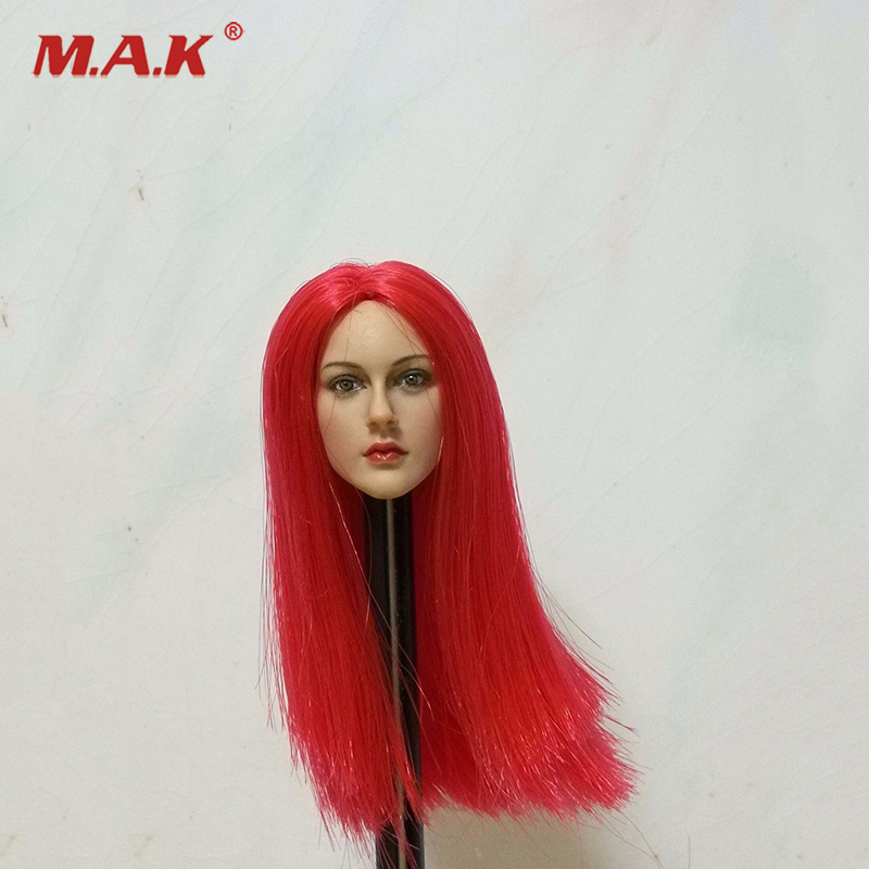 1:6 Scale Female Head Sculpt Model with Red Long Hair for 12 inches Action Figure dstoys d 005 1 6 scale female head sculpt beauty girl headplay long curly hair for 12 ht phicen action figure