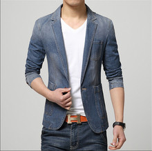 High Quality 2015 Fashion Mens Jeans Jacket Blue Denim Blazer Men Cowboy Jacket Plus Size M-3XL