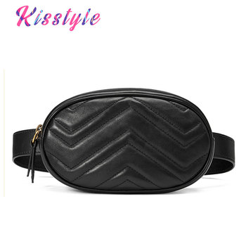 Kisstyle Women Waist Bag Mini Round Belt Bag Pouch Fashion Quilted Leather Fanny Pack Casual Ladies Crossbody Travel Chest Bag