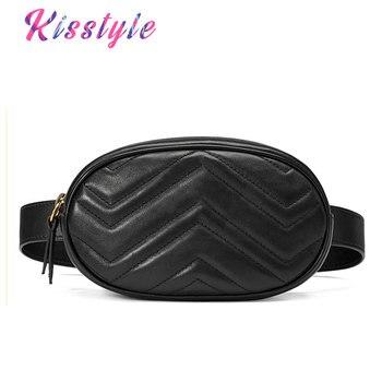3549f19cc Kisstyle bolso de cintura para mujer Mini bolsa de cinturón redondo bolsa  de moda de cuero acolchado riñonera Casual señoras Crossbody bolsa de viaje