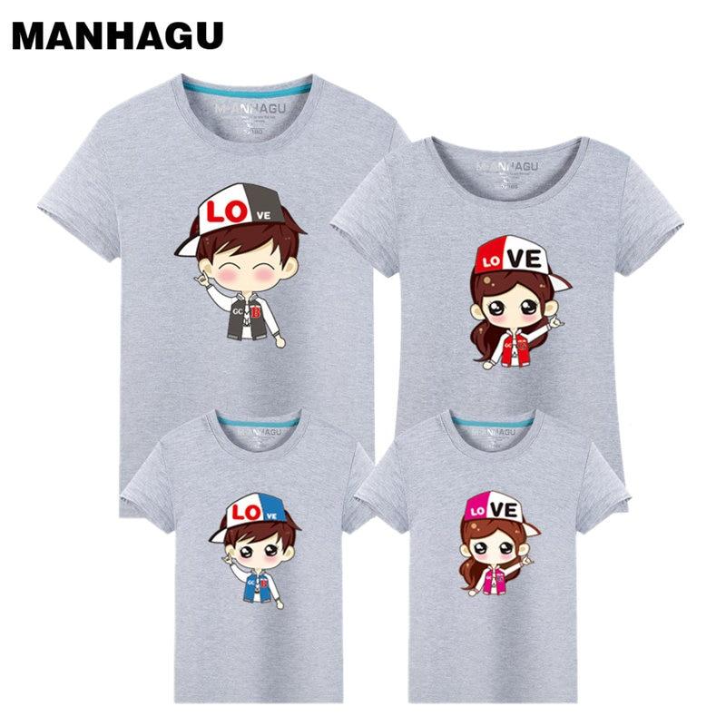 Letní rodinný vzhled tričko kreslený vzor Rodinné odpovídající oblečení Módní dětské trička Topy Tee Otec a syn Oblečení oblečení