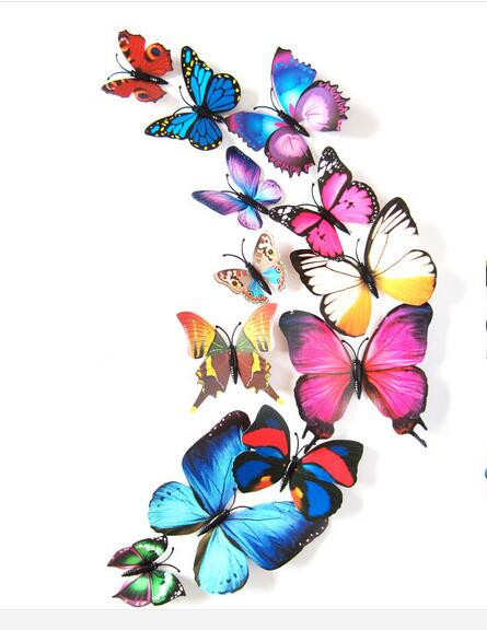 12 pcs/set DIY 3D Butterfly wall stickers home decor for living room,bedroom,kitchen,toilet,and Festive wedding decoration rysunek kolorowy motyle
