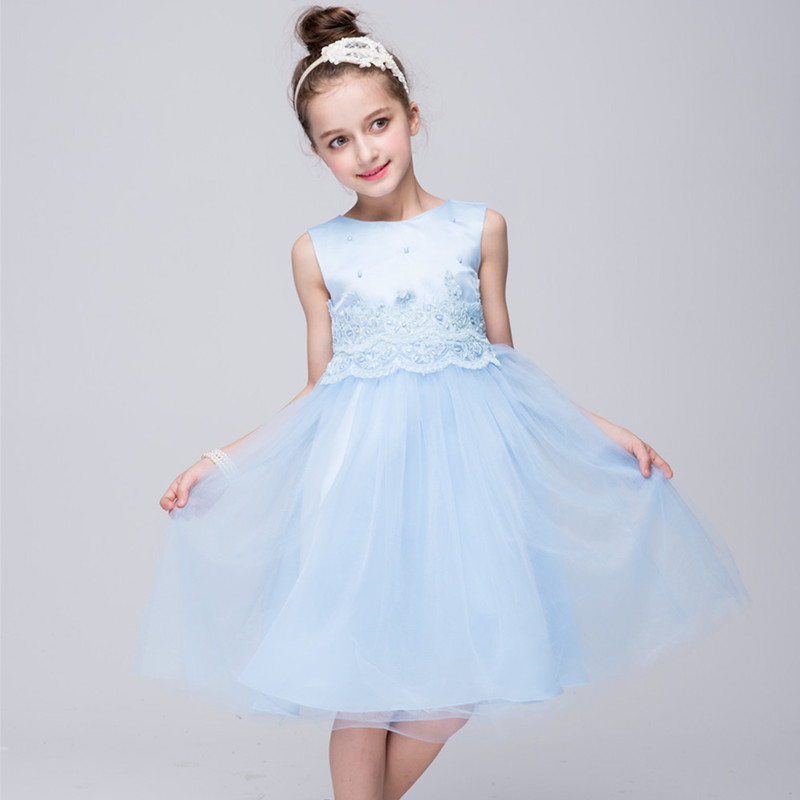 WearJoy Store Sleeveless Girls Party Dress Kids Clothes Tulle Princess Dresses Pink White Blue Girls Ball Gown Beading Wedding Dress