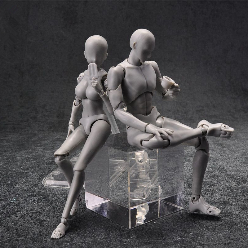 14cm female & male Action Figure Toys Anime <font><b>doll</b></font> Movable body joint Mannequin <font><b>bjd</b></font> artist Art painting Drawing body model <font><b>dolls</b></font> image