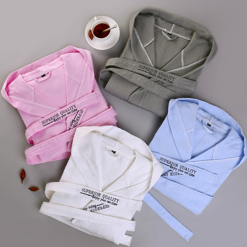 a643ddaa1b Cotton Waffle Spring Autumn Absorbent Long Hooded Robe Male Femlae Thin  String Couple