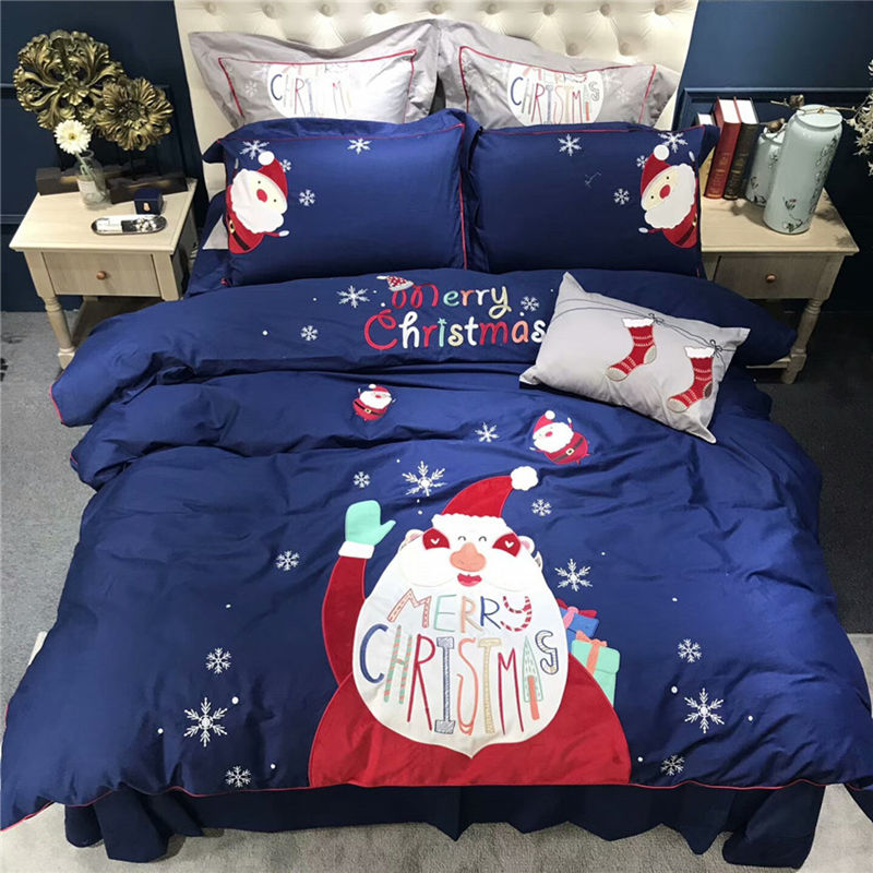 4/7pcs Red and blue Egyptian cotton bedding sets Christmas style bed linen duvet cover bed sheet pillow case set king queen size4/7pcs Red and blue Egyptian cotton bedding sets Christmas style bed linen duvet cover bed sheet pillow case set king queen size