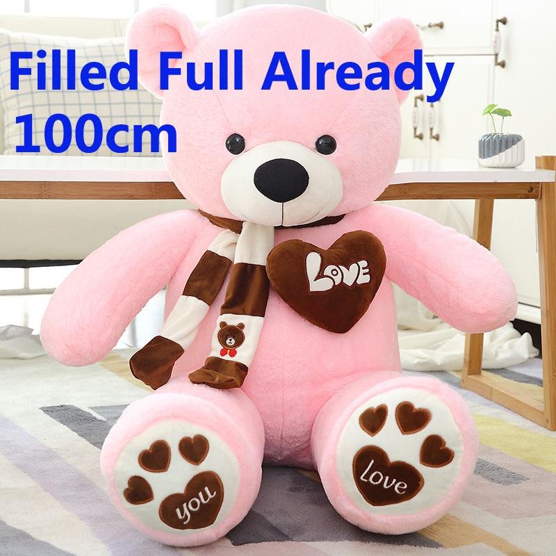 100 cm 1 m taille géante rempli ours en peluche avec écharpe animaux en peluche jouet rose grand ours enfants cadeau d'anniversaire poupée oreiller de noël