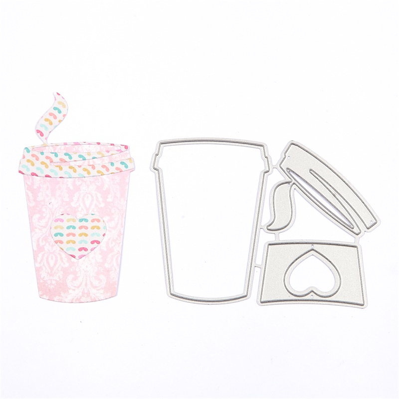 Heart Coffee Cup Drinkware Metal Cutting Dies Stencil For DIY Scrapbooking Embossing Wedding Paper Cards Crafts Diecuts New 2018