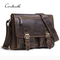 CONTACT S Genuine Crazy Horse Cowhide Leather Men Messenger Bag For Laptop Male Vintage Tote Shoulder